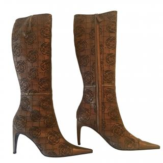 Chanel Bronze Laser-Cut Camellia Knee Boots