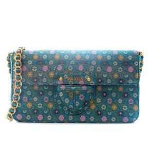 Prada Blue Brocade Flower Shoulder Bag