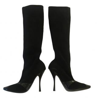 Bottega Veneta Black Stretch Suede Boots