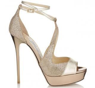 Jimmy Choo Valdia Gold Platform Sandals