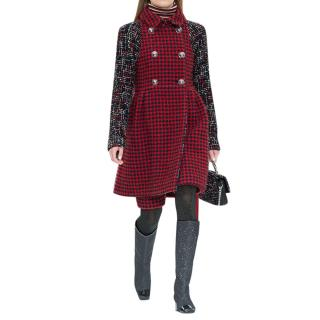 Chanel Red Houndstooth Wool Blend Coat with Tweed Contrast Sleeves