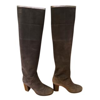 Chanel Dark Grey Turnover Relaxed Tall Boots