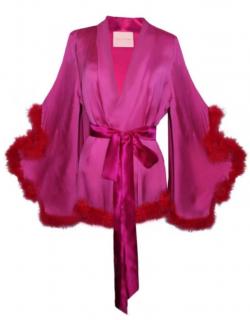 Maguy de Chadirac Pink Silk Marabou Feather Trim Kimono