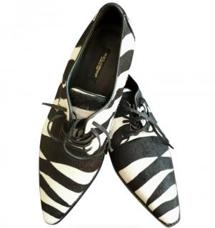 Dolce & Gabbana Black & White Calf Hair Zebra Brogues