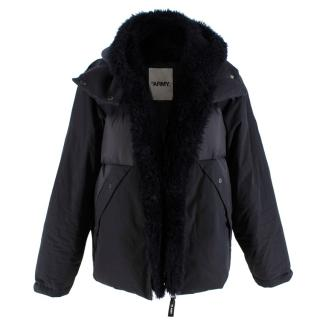 Yves Salomon Lambs Fur lined Hooded Black Puffer Jacket