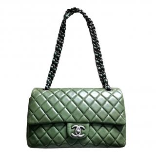 Chanel Green Lambskin Quilted Double Flap
