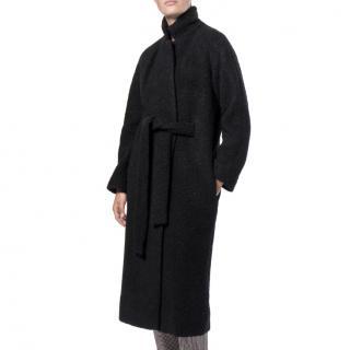Ganni Boucle Fenn Long Coat Black
