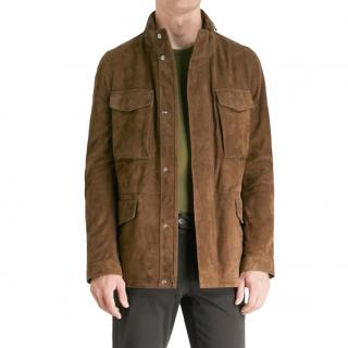 Corneliani Tan Suede Tailored Jacket