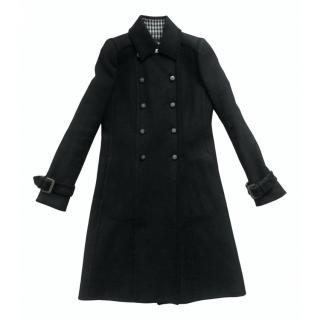 Chanel Black Houndstooth Lined Double Breasted Coat