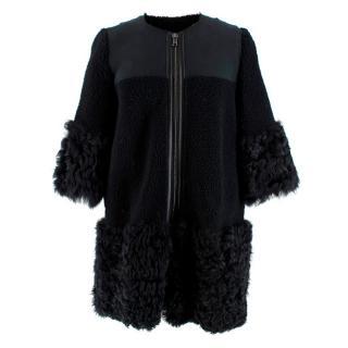 REDValentino Black Shearling & Suede Coat