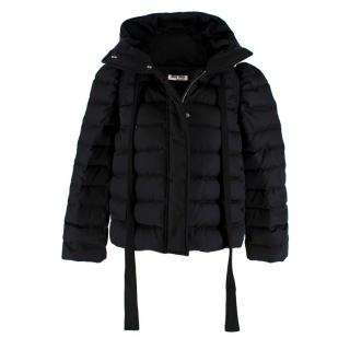 Miu Miu Black Nylon Quilted Hooded Puffer Jacket