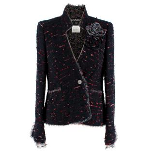 Chanel Navy & Red Camellia Lined Tweed Embellished Jacket
