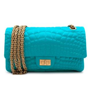 Chanel Turquoise Crocodile Embroidered Satin 2.55 Reissue 225 Flap