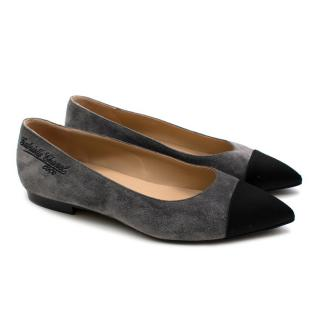 Chanel Grey Suede Pointed Contrast Toe Ballet Pumps