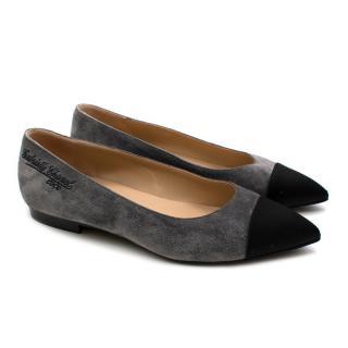 Chanel Grey Suede Pointed Contrast Toe Ballet Pumps