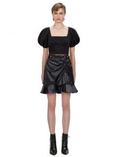 Self Portrait Black Faux Leather Flounced Mini Skirt