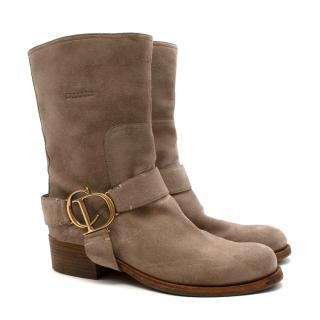 Christian Dior Suede Western CD Buckle Boots