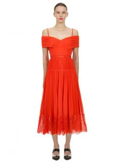 Self Portrait Orange Off Shoulder Midi Dress
