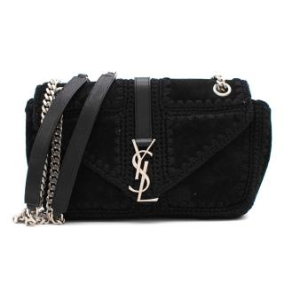Saint Laurent Suede Macrame College Monogram Shoulder Bag