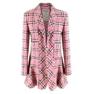 Chanel Pink Vintage Check Wool Tweed Longline Jacket