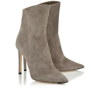 Jimmy Choo Suede Helaine 100 Grey Ankle Boots