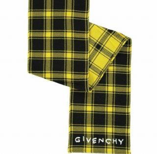 Givenchy Yellow & Black Plaid Embroidered Logo Scarf