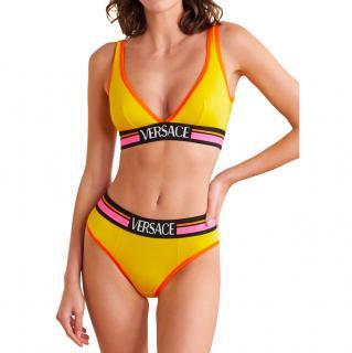 Versace Yellow Jacquard Logo Print Triangle Bra