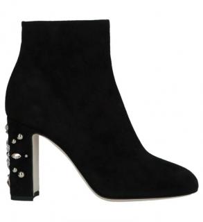 Dolce & Gabbana Crystal Embellished Block Heel Suede Ankle Boots