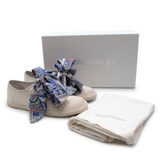 Zimmerman White Canvas Scarf Lace Low-Top Sneakers