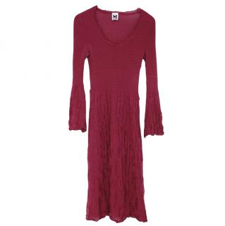 M Missoni Burgundy Knit Merino Wool Blend Dress