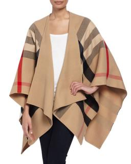 Burberry Charlotte Check-To-Solid Wool Cape in Camel