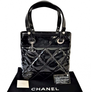 Chanel Biarritz Black Patent Leather Quilted Tote Bag