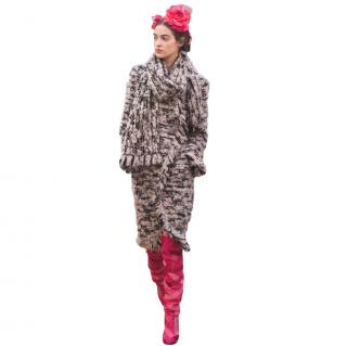 Chanel Metiers D'Art Runway Tweed Wrap Coat & Scarf