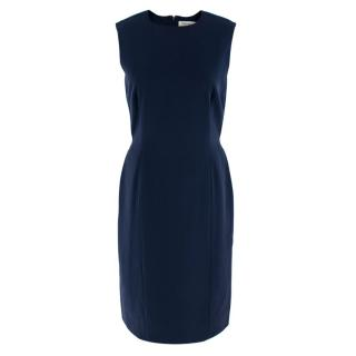 Yves Saint Laurent Navy Wool Sleeveless Shift Dress