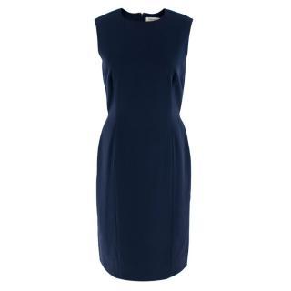 Yves Saint Laurent Navy Wool Sleeveless Shift Dress