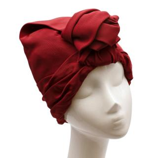 Super Duper Red Draped Turban with Knot Detail