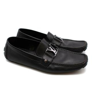 Louis Vuitton Black Leather Logo Loafers
