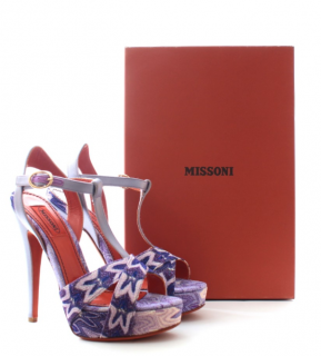 Missoni Purple Lurex T-Strap Platform Sandals