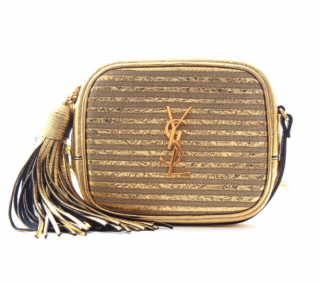 Saint Laurent Gold Distressed Monogram Crossbody Bag
