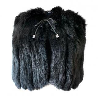 Philipp Plein Black Fur Cape