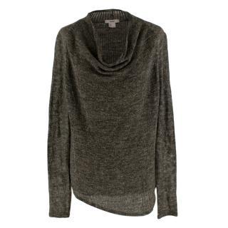 Helmut Lang Grey Long Sleeved Cowl neck Knitted Jumper
