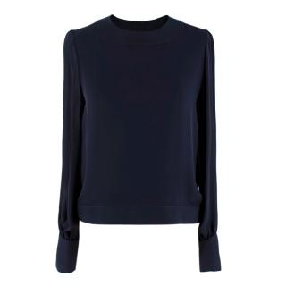 Oscar de la Renta Navy Blue Blouse with Large Rose Button Cuffs