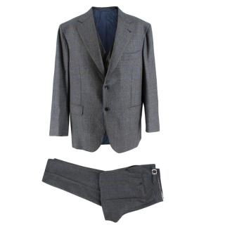 Donato Liguo Grey Check Double Breasted 3-Piece Hand Tailored Suit