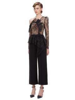 Self Portrait Black Fine Lace Frill Jumpsuit