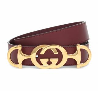 Gucci Burgundy GG Horsebit Buckle Leather Belt