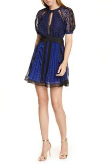 Self Portrait Blue Geometric Lace Mini Dress