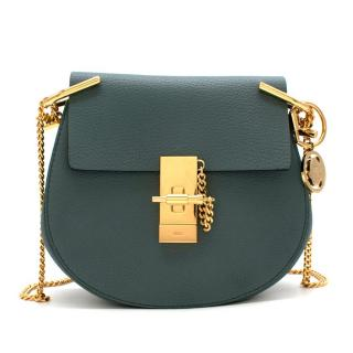 Chloe Teal Drew Mini Textured Leather Shoulder Bag