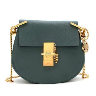 Chloe Teal Drew Mini Textured Leather Shoulder Bag