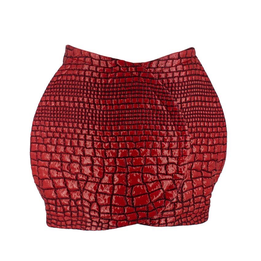 Kenzo Red Metallic Leather Effect Croc Mini Skirt