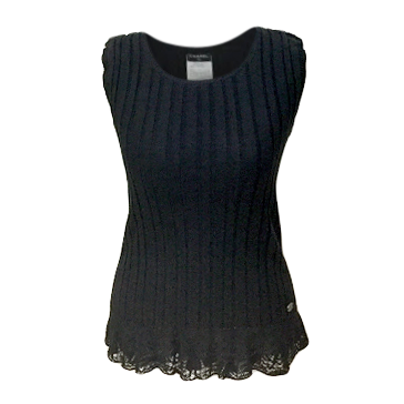 Chanel Black Ribbed Knit Sleeveless Lace-Trimmed Top